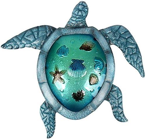 Liffy Metal Turtle Outdoor Wall Decor Beach Hanging Art Blue Glass Sea Sculpture