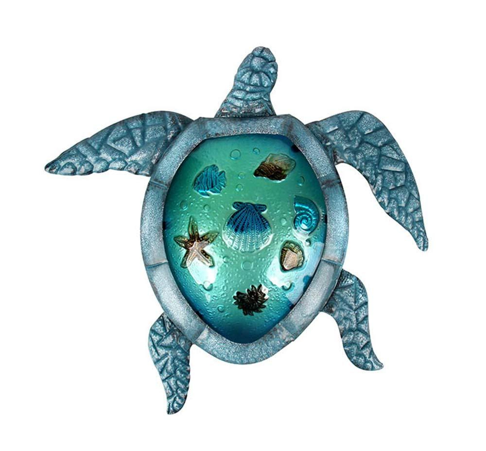 Liffy Turtle Wall Decor Outdoor Sea Metal Art Hanging Decorative Glass Sculpture Blue