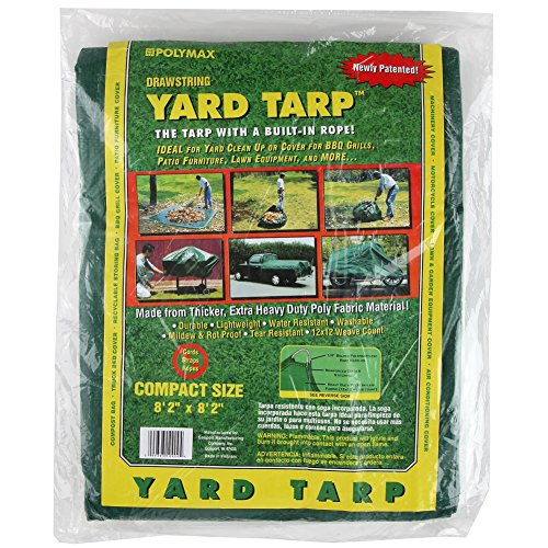 Shefko 0-99393-10909-4 Yard Tarp 8.2 X 8.2 - Versatile Drawstring Tarp for Yard Clean Ups - Convenient and Handy - Formed Into an Instant Dragging Bag - Ideal as BBQ Grill and Outdoors Furniture Cover by Shefko (Image #1)