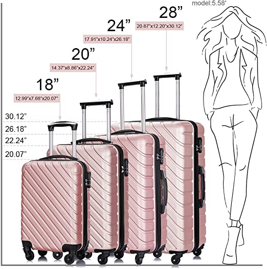 Luggage sets 4 Piece Suitcase Luggage Sets Carry on Luggage with Spinner Wheels 18-28 Inch Champagne