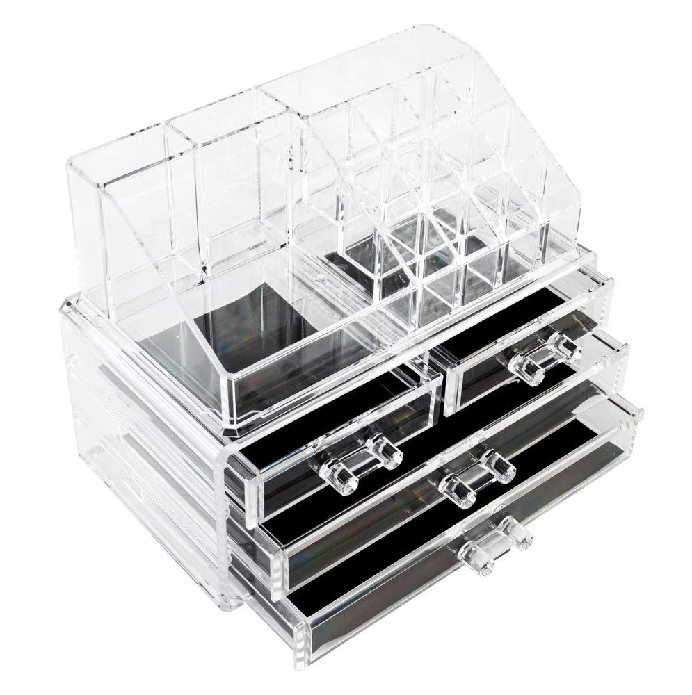 Lovinland Cosmetics Box, Acrylic Cosmetics Storage Rack with 4 Drawers Transparent