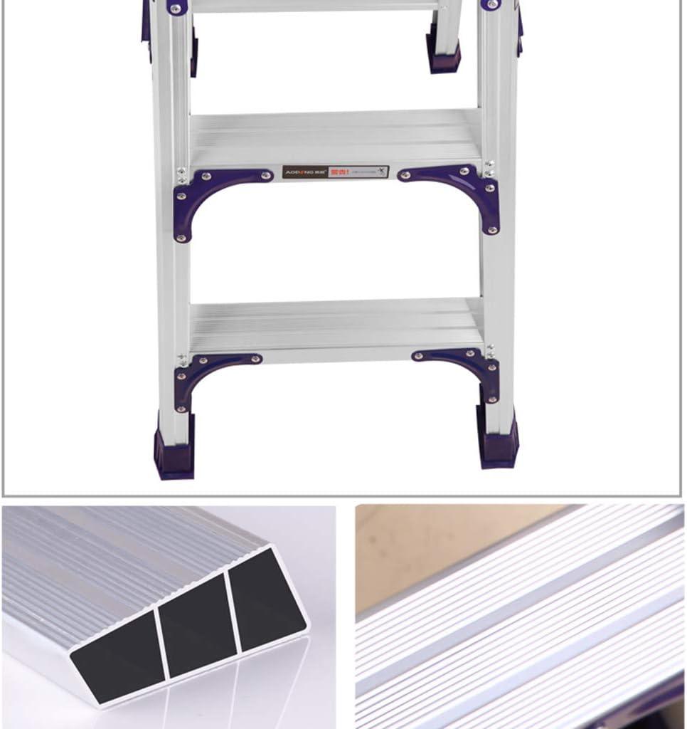 GZW001 Escalera aleación de Aluminio, para Uso en el hogar, para engrosar Las Arrugas, para Interiores, para proyectos, soporta hasta 200 kg, Aleación de Aluminio, Plata, High 115CM: Amazon.es: Hogar