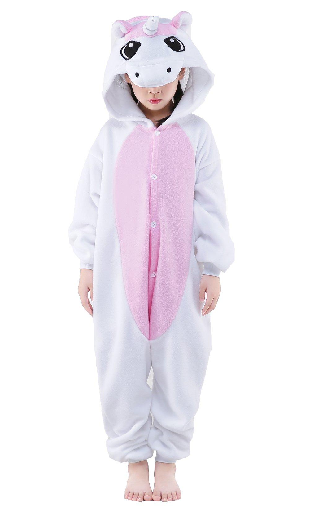 NEWCOSPLAY Childrens Pajamas Sleeping Wear Animal Onesies Cosplay Homewear (125#, Pink Unicorn)