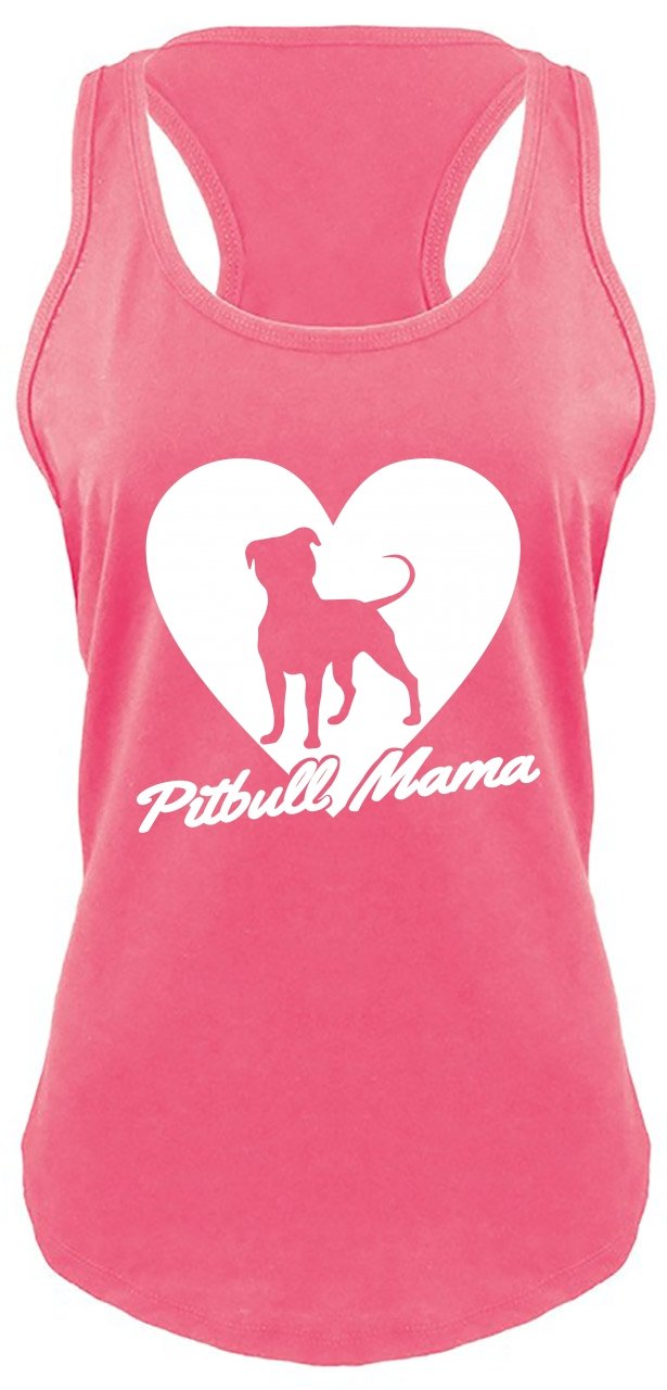 Comical Shirt Ladies Racerback Tank Pitbull Mama Tee Pitt Bully Dog Lover Gift Tee Hot Pink with White Print M