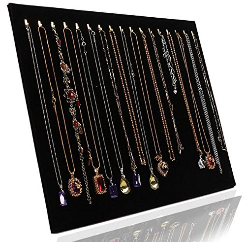 Life VC Black Velvet 17 Hook Necklace Jewelry Tray Display Organizer