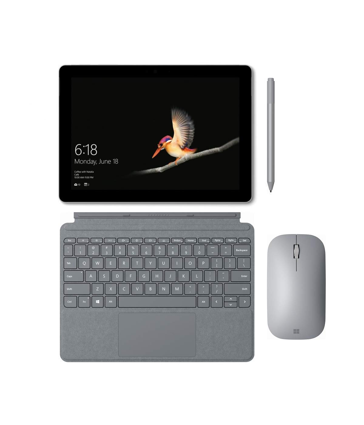 Microsoft Surface Go (Intel Pentium Gold 4415Y) 8GB RAM 128GB Storage with Platinum Microsoft Surface Go Signature Type Cover, Surface Pen and Surface Mobile Mouse Bundle