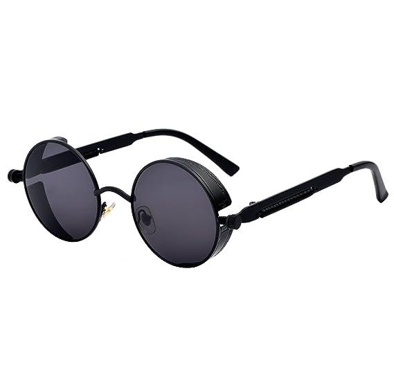 5d56b9ad90f YANQIUYU Gothic John Lennon Steampunk Sunglasses for Men Women Metal Frame  Small Round Lens
