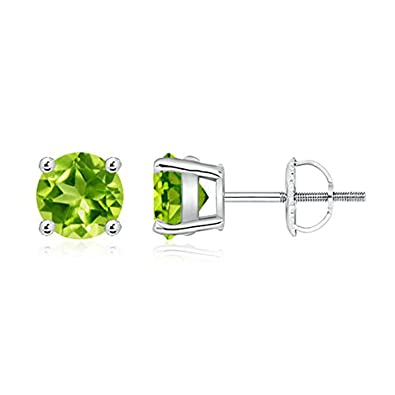 Angara Basket-Set Round Peridot Stud Earrings with Diamond awBDQ
