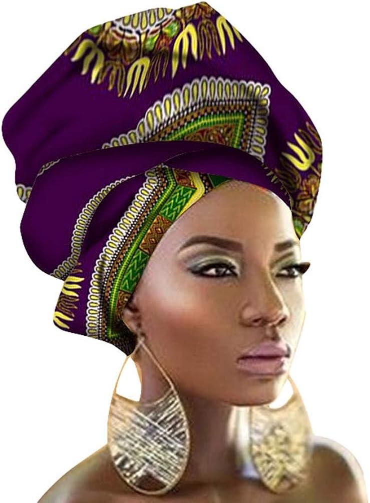 Mengyu Turban Femme Mode Imprim/é Africain Longue Foulard Bandeau Cheveux Accessoire Headwraps Traditionnelle