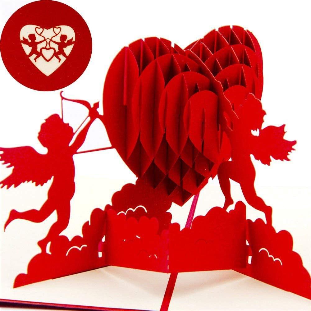 Ogquaton Coeur de Cupidon 3D Pop Up Carte de voeux cadeau danniversaire anniversaire Saint Valentin Durable et utile