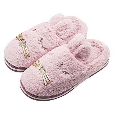 Womens Plush Bunny Slippers Winter Warm Animal Slipper Shoes Cute Memory Foam House Home Slippers Indoor Outdoor | Slippers