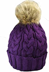 f7eec9e36de Quality Knitted cable bobble hat with Faux fur pom Purple