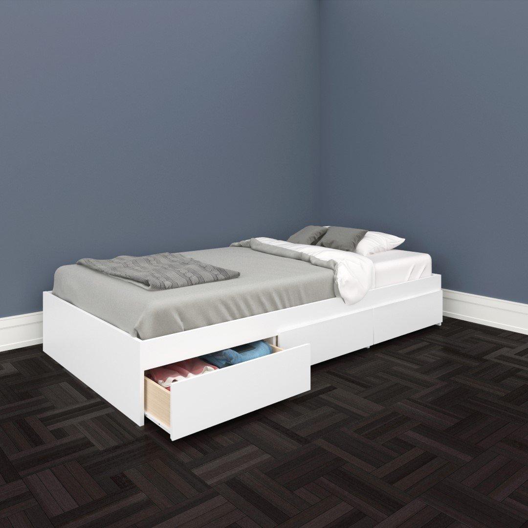 Single bed frame with drawers - Amazon Com Nexera 223903 Blvd Twin Size Storage Bed White Kitchen Dining