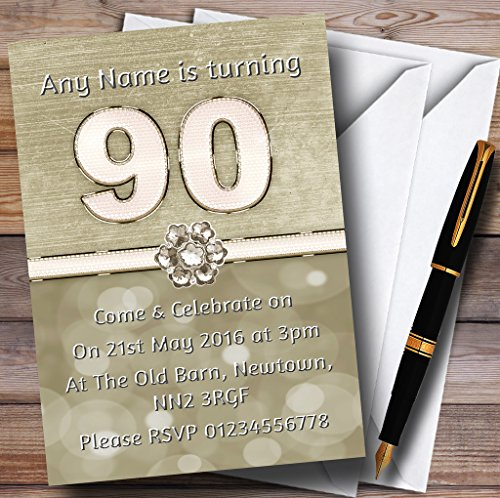 Titanium Gold And White 90Th Personalized Birthday Party Invitations -