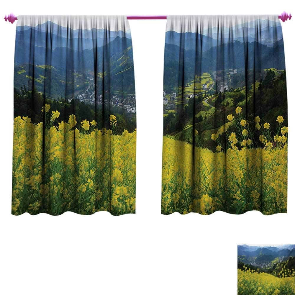 Nature Decorative Curtains for Living Room Flower Meadow Over The Village Mountains in a Row Grass Fresh Field Photo Print Blackout Window Curtain W108 x L72 Yellow Green