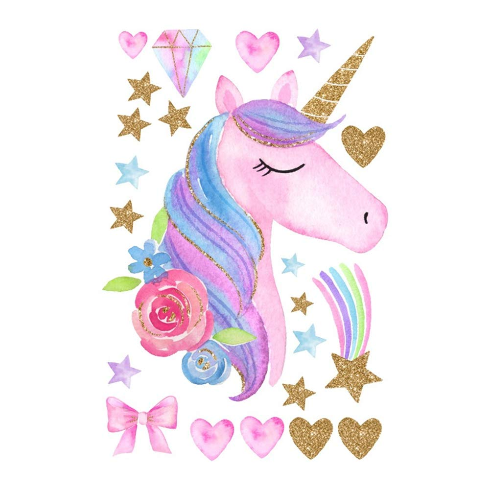 Unicorn /& Bling Star 2 Pack CCUT Cute Unicorn Wall Sticker Removal Unicorn Wall Decals PVC Wall Art Stickers Wall Mural Decor for Kids Girls Bedroom Home Nursery Room