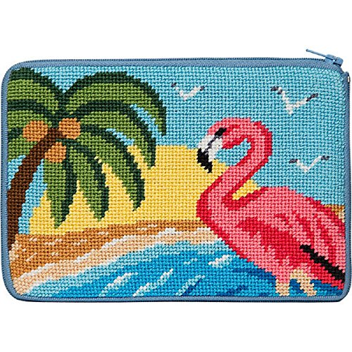 (Cosmetic Purse - Flamingo - Needlepoint Kit)