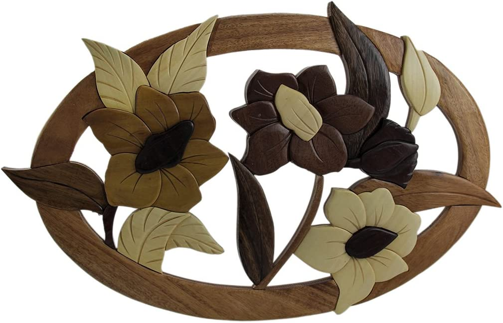 Zeckos Hibiscus Flowers Hand Crafted Intarsia Wood Art Wall Hanging