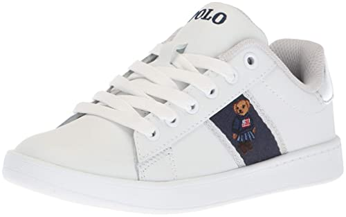 7e87ee21a8b Polo Ralph Lauren Kids Quilton Sneaker, White Leather Silver  Striping/Americana Girl Bear ii