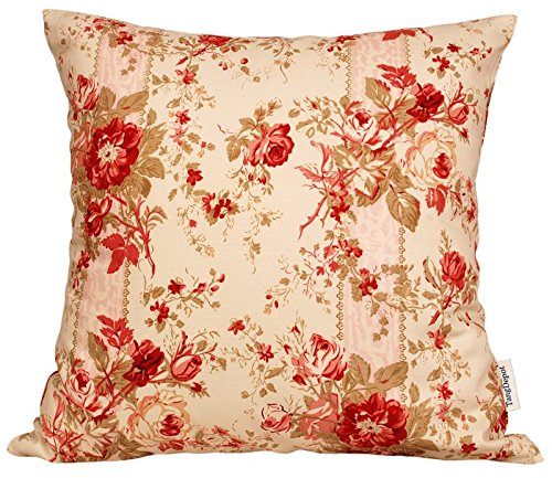 "Price comparison product image TangDepot174; 100% Cotton Floral/Flower Printcloth Decorative Throw Pillow Covers /Handmade Pillow Shams - Many Colors, Sizes Avaliable - (14""x14"", S21 Pink Rosebush)"