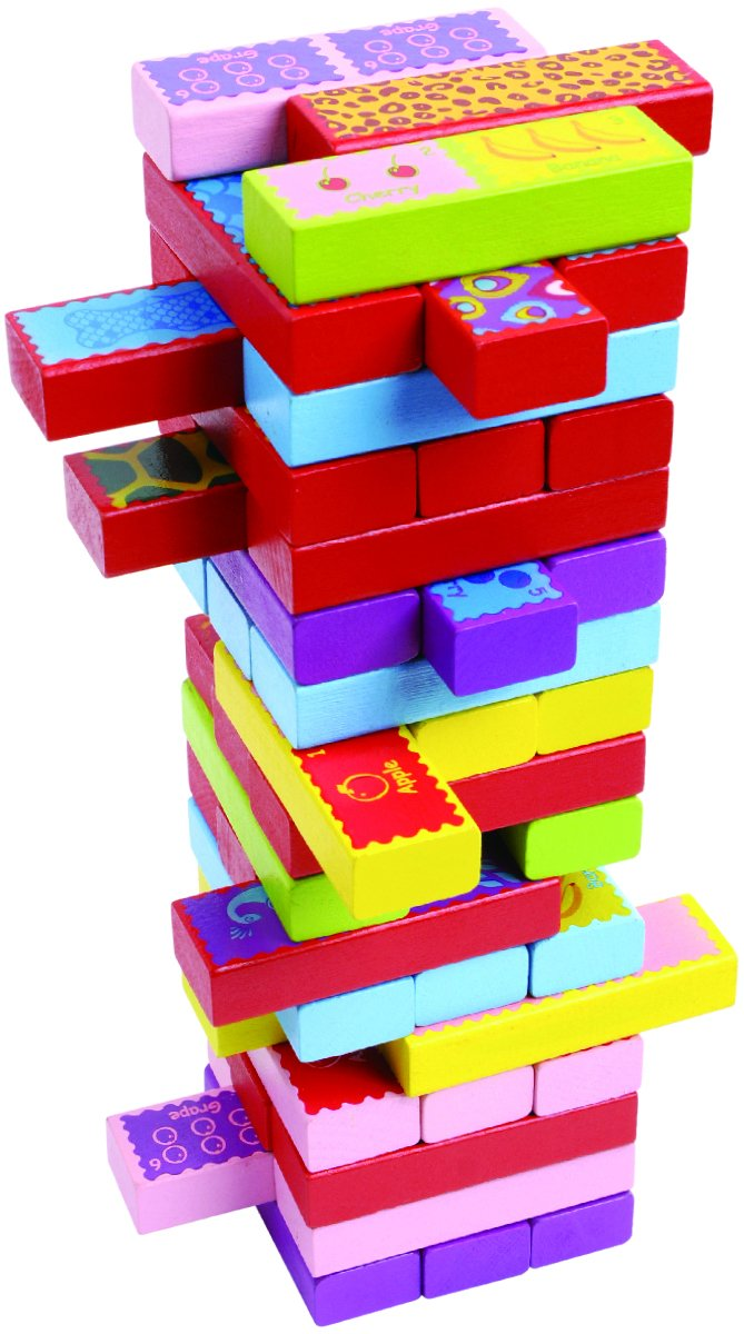 CoolToys Timber Tower Wood Block Stacking Game – 3 Games in 1 Playset (52 Pieces)