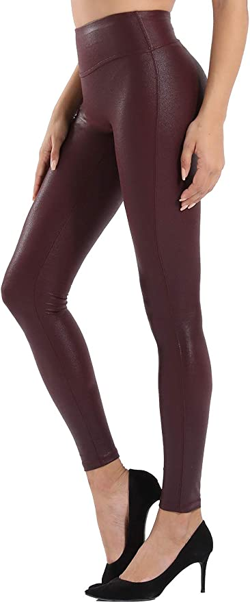 Retro Gong Womens Faux Leather Leggings Stretch High Waisted Pleather Pants (Snake Skin Wine Red, Large) at Amazon Women's Clothing store