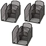Lorell Mini Steel Wire Mesh Desktop Organizer - 3 Pack