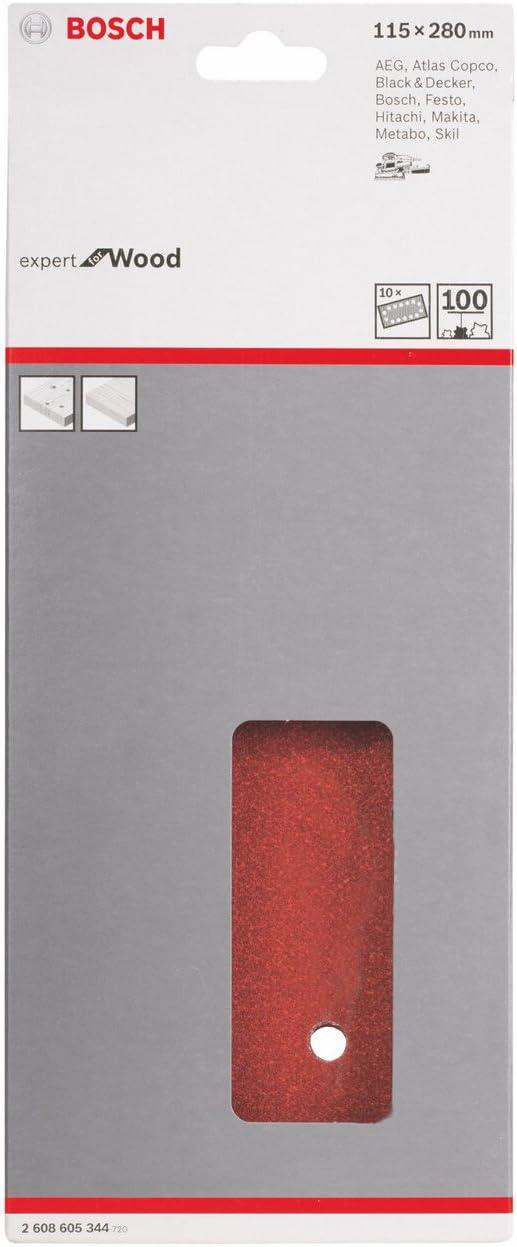 115 x 280 mm, 100 Juego de 10 hojas lijadoras Bosch 2 608 605 344