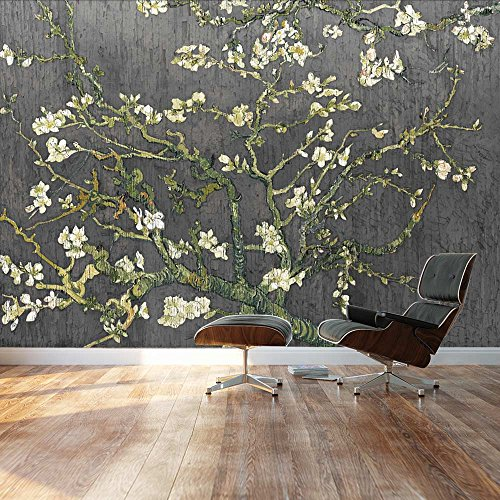 Almond Blossom by Vincent Van Gogh Floral painting on a rich black textured background Wall Mural