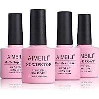 AIMEILI Top Coat and Base Coat, Mat Top Coat, 2 in 1 Builder Base Gel Soak Off UV LED Gel Lak Nagellak Gellak 10ML