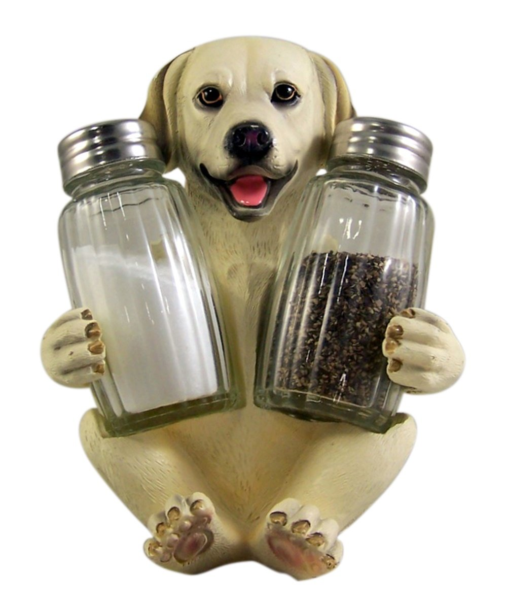 Labrador Salt and Pepper Shaker Holder 5 1/2 Inch (Shakers Included) DWK Corporation