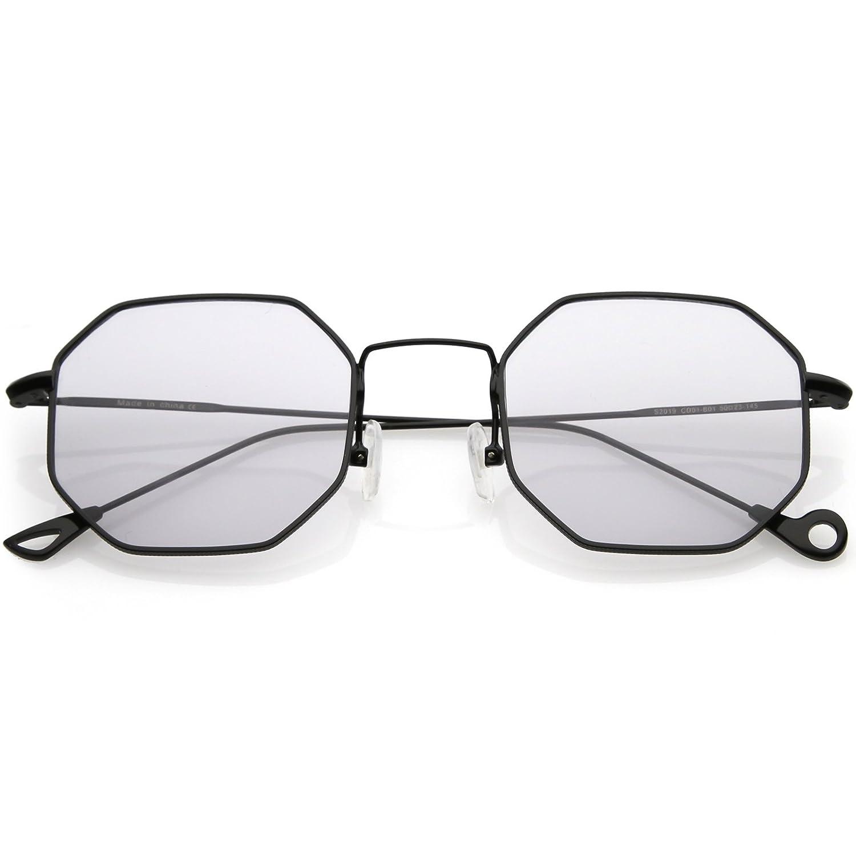 a4ed588487 Amazon.com  sunglassLA - Premium Geometric Octagon Sunglasses Ultra Slim  Metal Color Tinted Flat Lens 49mm (Black Light Grey)  Clothing