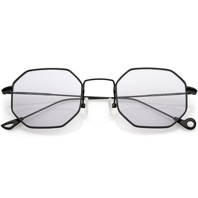 2a9ceb197f sunglassLA - Premium Geometric Octagon Sunglasses Ultra Slim Metal Color  Tinted Flat Lens 49mm (Black