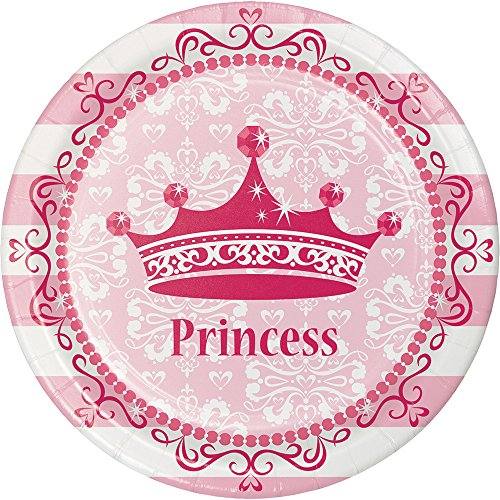 Creative Converting 415081 96 Count Dessert/Small Paper Plates, Pink Princess Royalty