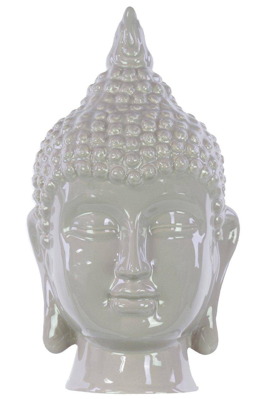 Urban Trends 40089 Ceramic Buddha Head Decor, One Size, Gloss Mocha