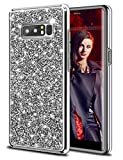 HoneyAKE Galaxy Note 8 Case Glitter Bling Rhinestone Sparkle Diamond Crystal Heavy Duty Shockproof Hybrid Hard Cover Soft Bumper Protective Phone Case for Galaxy Note 8(Silver)