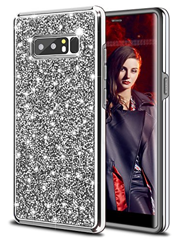 - HoneyAKE Rhinestone Sparkle Series Case for Galaxy Note 8 Case Glitter Bling Case Heavy Duty Shockproof Hybrid Hard Cover with Diamond Crystal Soft Bumper Protective Case for Galaxy Note 8, Silver