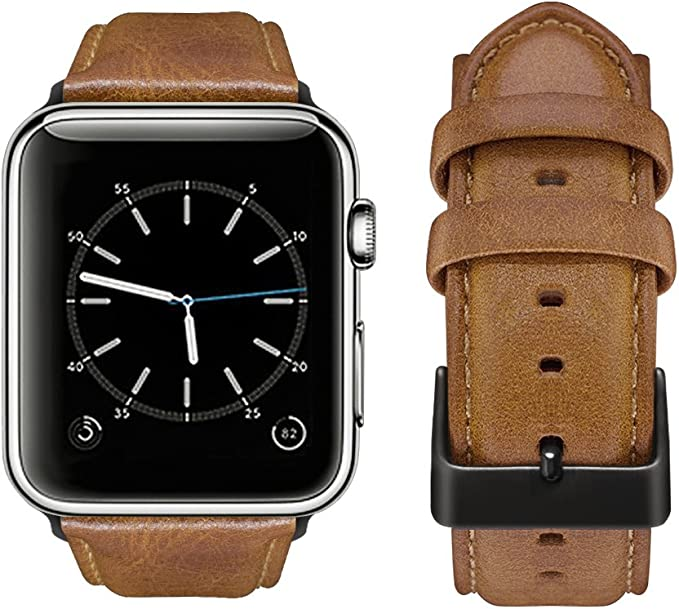 top4cus Genuine Leather Replacement iWatch Strap Wristband Bracelet with Secure Metal Clasp Buckle for Apple Watch Series 3 Series 2 Series 1 42mm