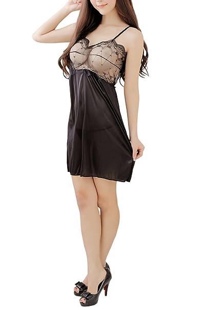 ce9e8d3a73c Amazon.com  Unomatch Women Transparent Bust Lace Silk Skirt Lingerie Black   Clothing
