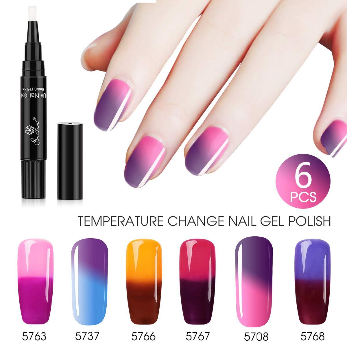 Saviland - Juego de 6 esmaltes de uñas de gel que cambian de color, secado con luz UV LED: Amazon.es: Belleza