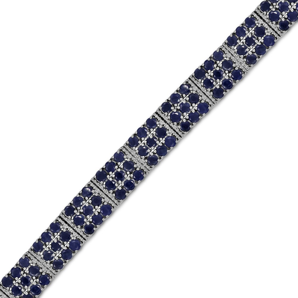 Fine Blue Sapphire and Diamond Tennis Bracelet in Sterling Silver