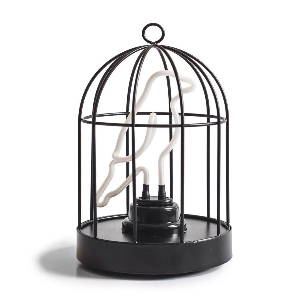 Suck UK Birdcage Neon Bird in a Cage Lamp-Both USB and Battery Powered 6'' Light, Multicolor