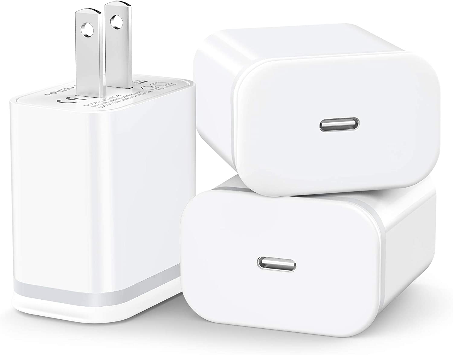 LUOATIP 3-Pack 20W USB C Fast Charger for iPhone 12/12 Mini/12 Pro/12 Pro Max, PD 3.0 Wall Plug Charging Cube Power Delivery Block Adapter Box Brick for Phone 11 Pro Max SE 2020, iPad, AirPods Pro