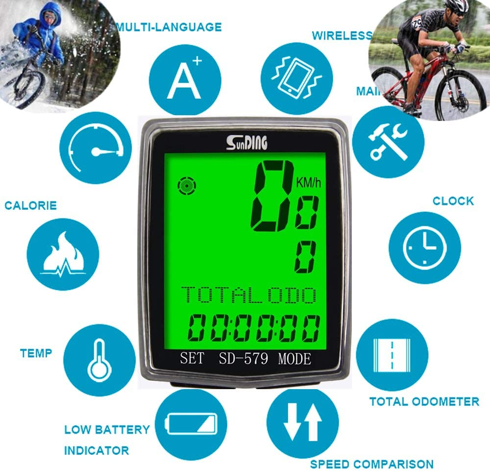 ARCELI Velocímetro de Bicicleta de Pantalla Grande Impermeable ...