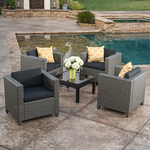 Budva Outdoor Mixed Black Club Chairs with Dark Grey Water Resistant Cushions (Set of 4)