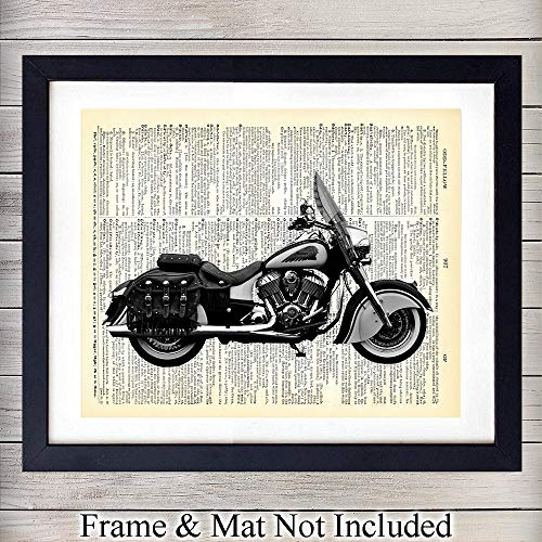 (Indian Motorcycle Upcycled Dictionary Wall Art Print- 8x10 Vintage Unframed Photo - Perfect Gift For Bikers, Great For Home Decor)