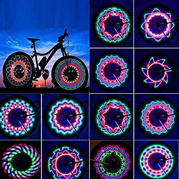 Luces para Rueda de Bicicletas Rottay Led para radios de bicicleta impermeables 32 LEDs rayos montar al aire libre con 32 cambios de patrón diferente: ...