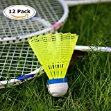 12-Pack Advanced Nylon Feather Shuttlecocks,77 Grains-High Speed Badminton Balls (Yellow,Nylon) with Great Stability and Durability,Indoor Outdoor Sports Hight Speed Training Badminton Shuttlecocks