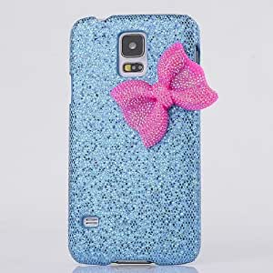 Noarks Samsung Galaxy S5 Bling Glamour Glitter Case - Chic Cute Crystal Bling Hard Back Case Cover with Decorated Bowknot for Samsung Galaxy S5 I9600 (Galaxy S5 Bling Case, Blue)
