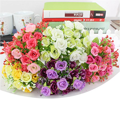 BUOP 5 Bunches (7 Branches/Bunch, 21 Heads/Bunch) Rose Bouquet, Assorted Color Artificial Flower Arrangement (Pink, Yellow, Purple, White, Red) - Designer Long Stem Roses